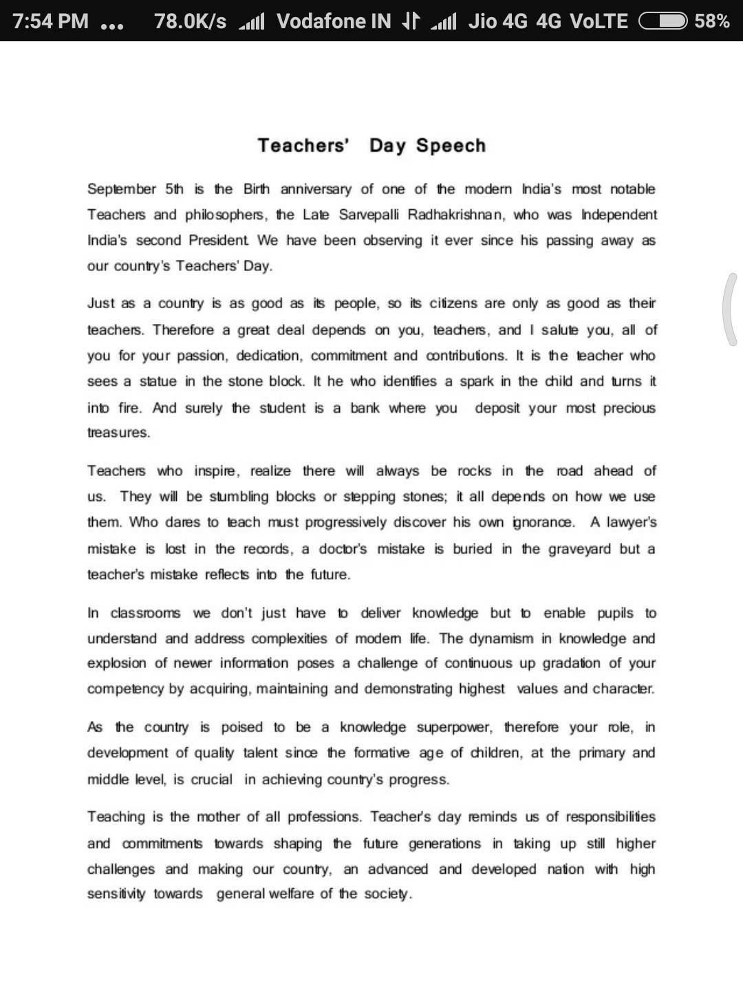 how to write a short speech