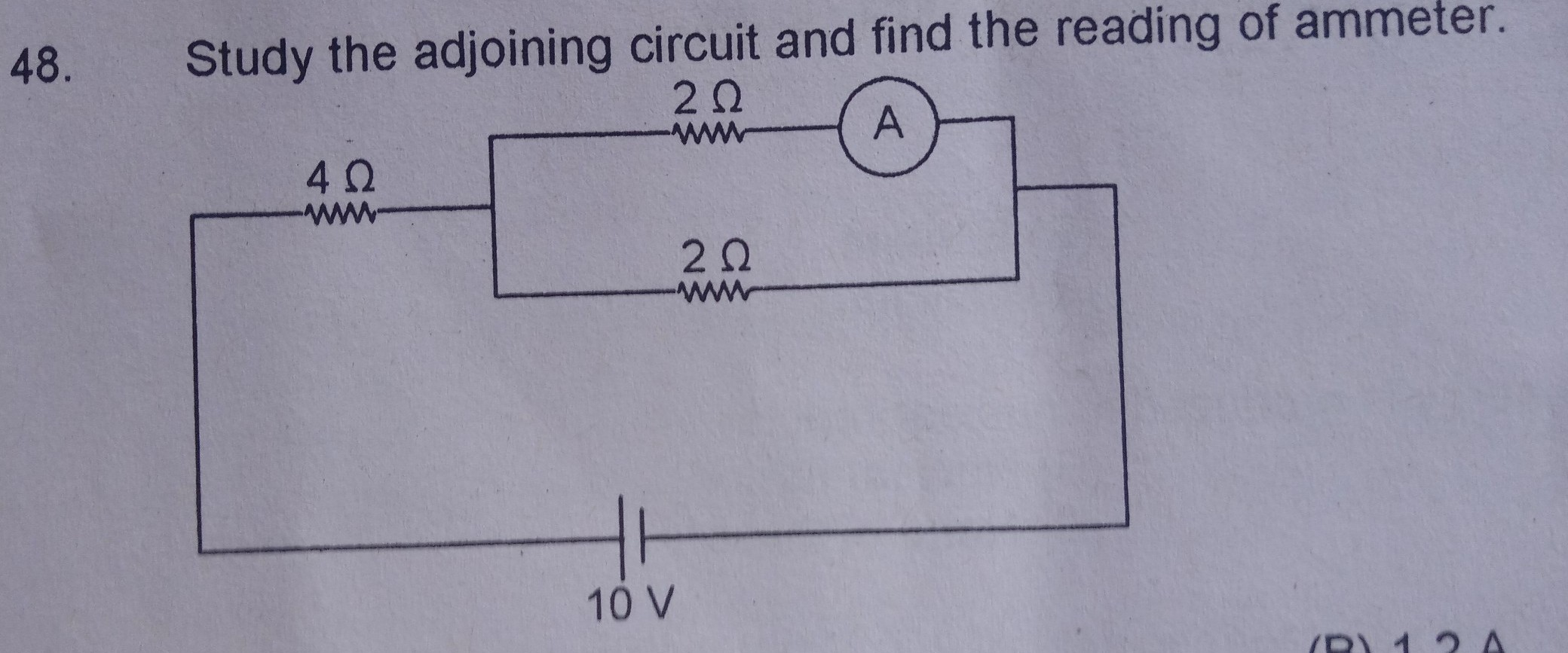 Study The Adjoining Circuit And Find Reading Of Ammeter Diagram With Download