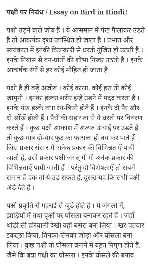 essay on sparrow in hindi