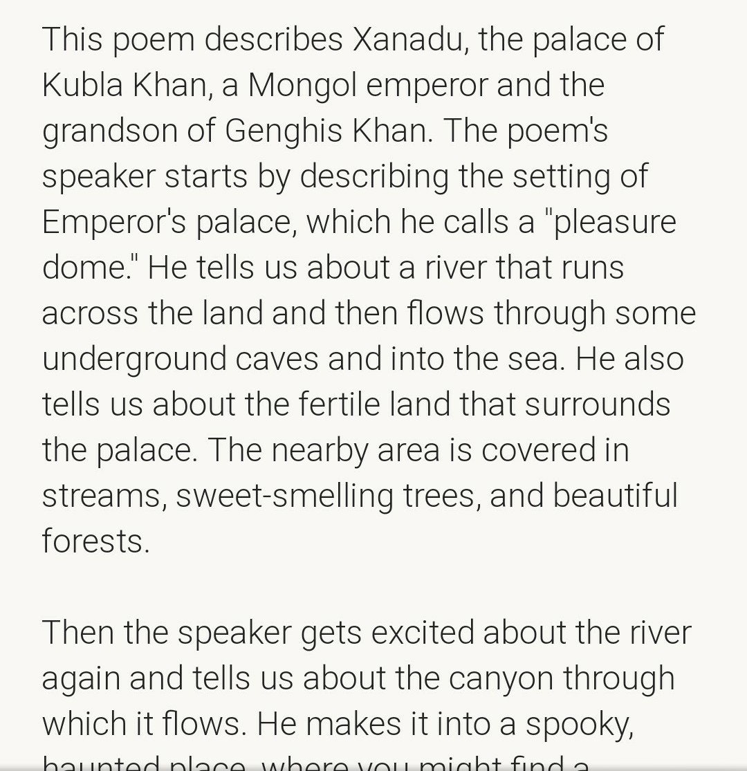 Write Summary Of The Poem Kubla Khan By S T Coleridge Brainly In Samuel Taylor Theme