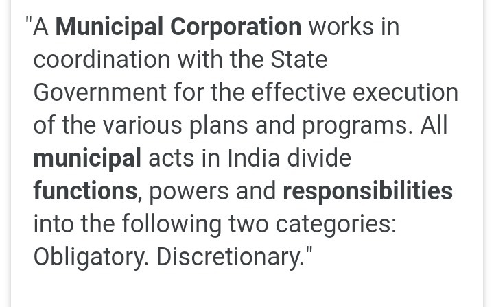 obligatory functions of municipal corporation