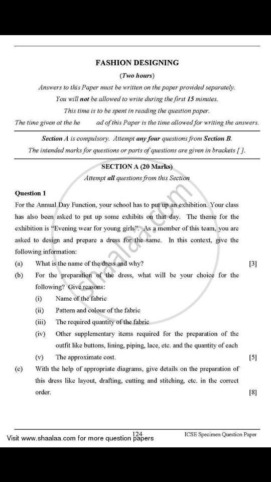 Exam Papers Of Fashion Designer Fashion Designing Brainly In
