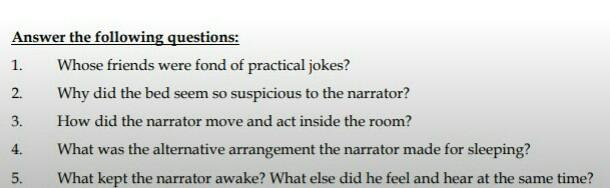 Answer these questions chapter  An uncomfortable bed ...