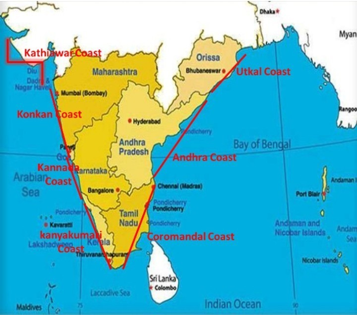 Plain Map Of India.Display The Coastal Plain Map Of India Brainly In