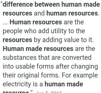 human made resources information