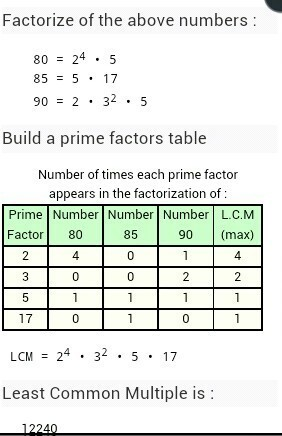 Lcm Of 80 85 90 In Long Method Brainly