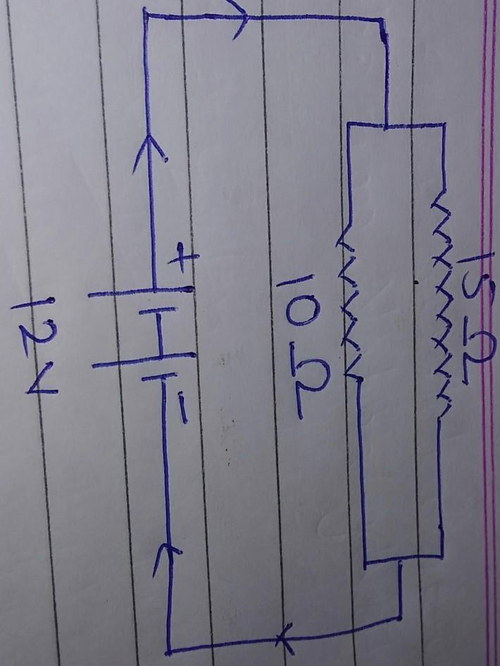 Circuit Diagram Of 12 Volt Battery Connected To 10 Ohm And 15 Ohm Resistors In Parallel Connection Brainly In