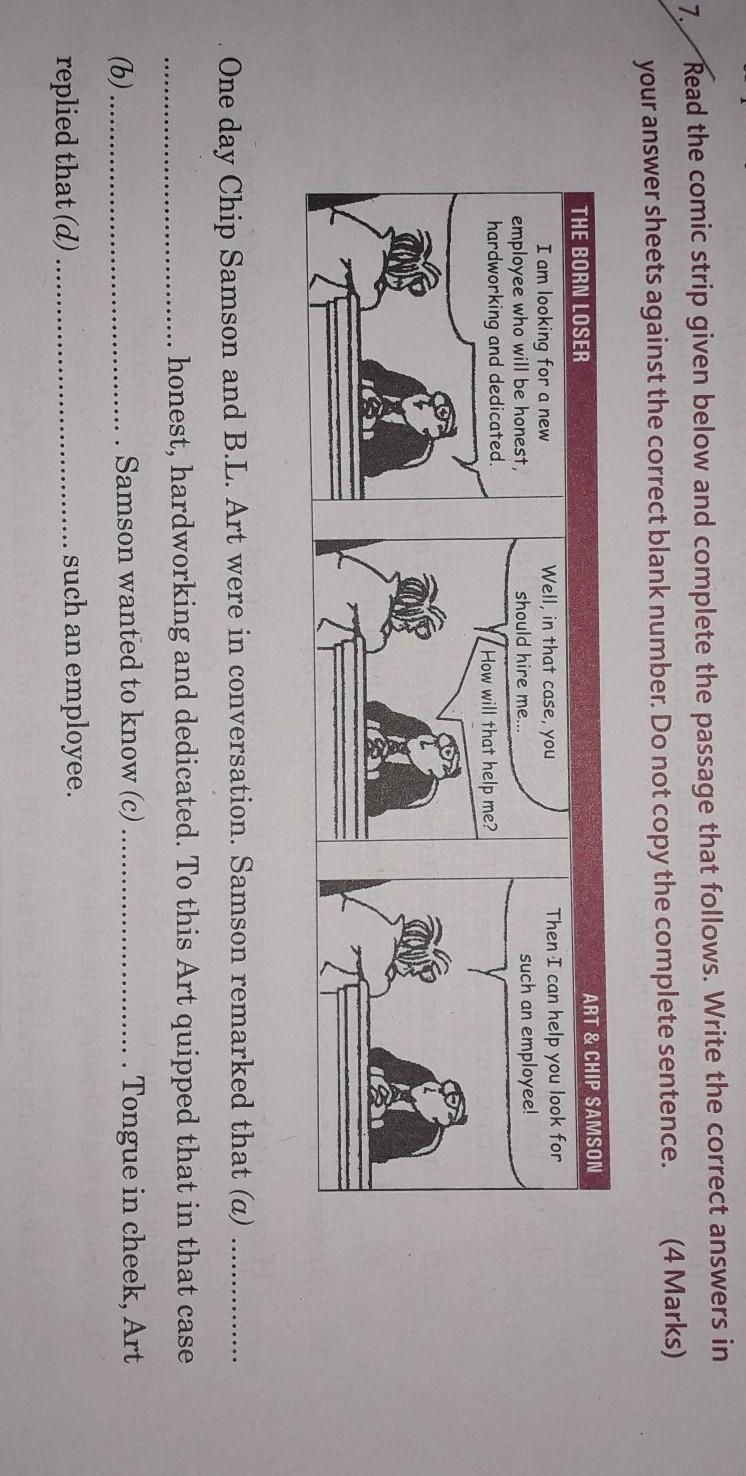 read the comic strip given below and complete the passage that ...
