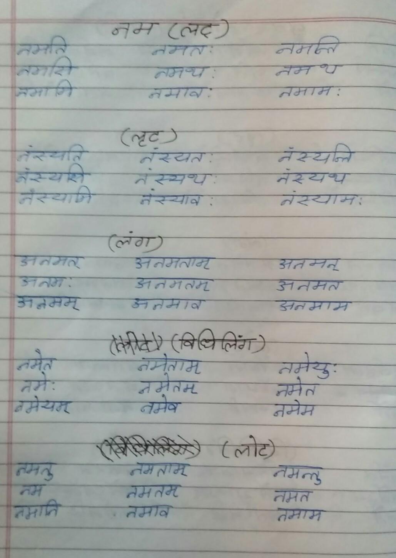 Nm Me Dhatu Roop Likho Brainly In