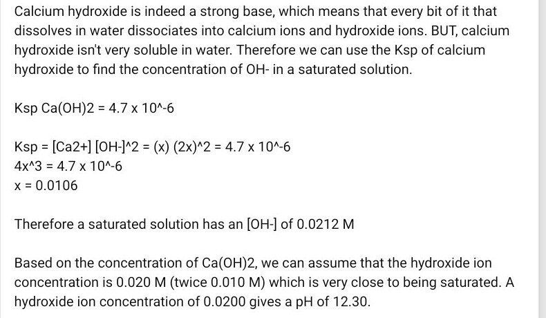 the pH of M/100 ca(oh)2 - Brainly in