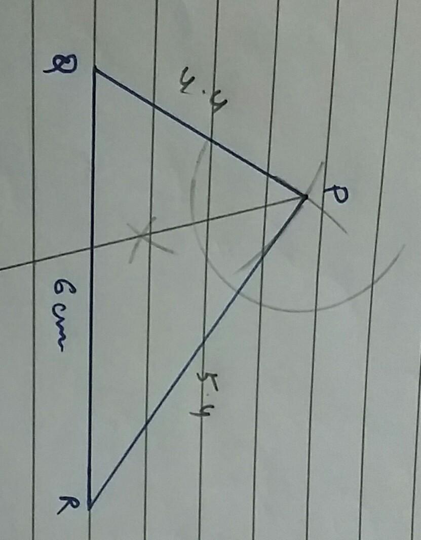 Construct A Triangle Pqr In Which Qr 6 Cm Pq 4 4cm And Pr 5 3 Cm