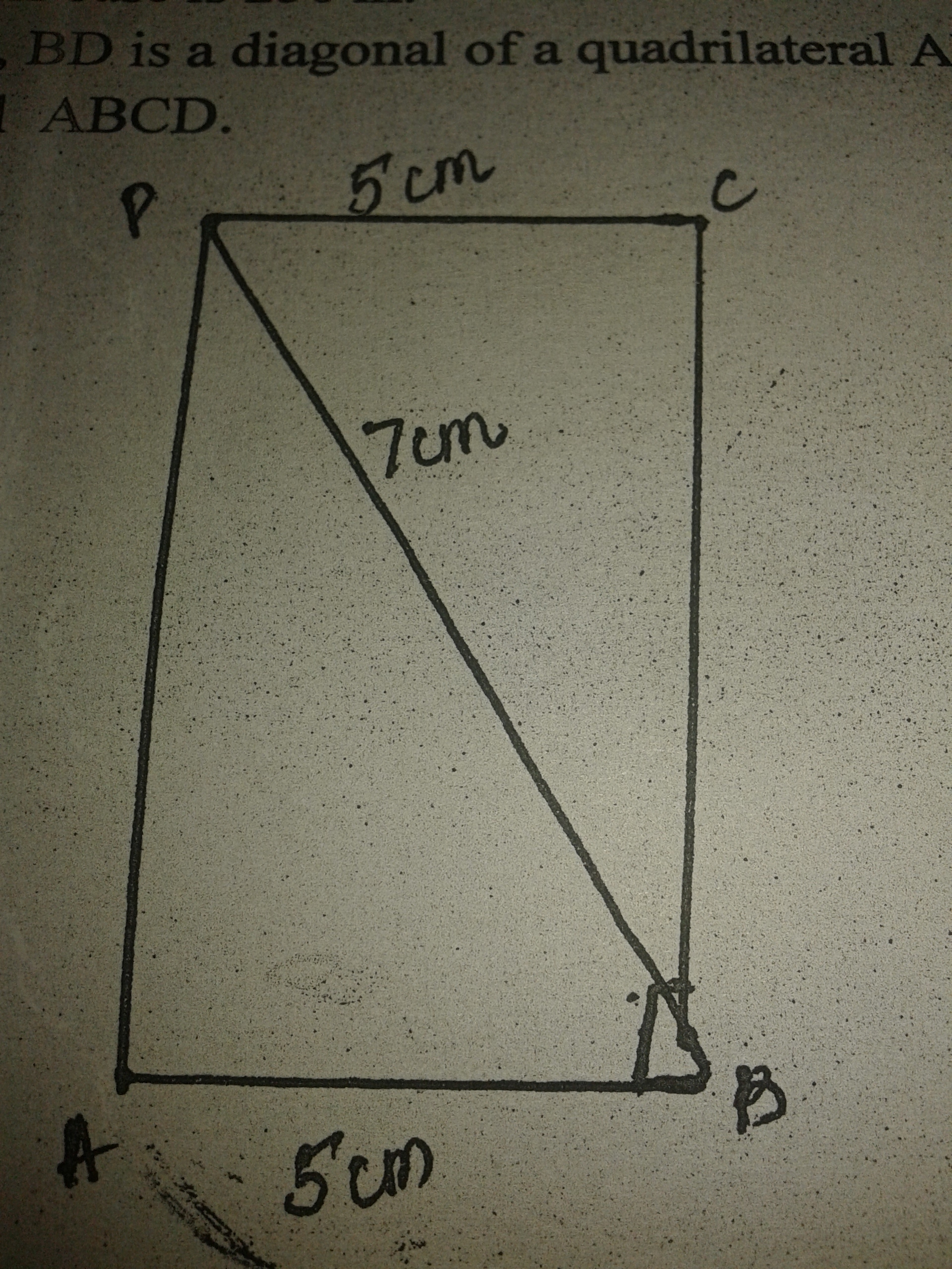 how to find the diagonal of a square using area