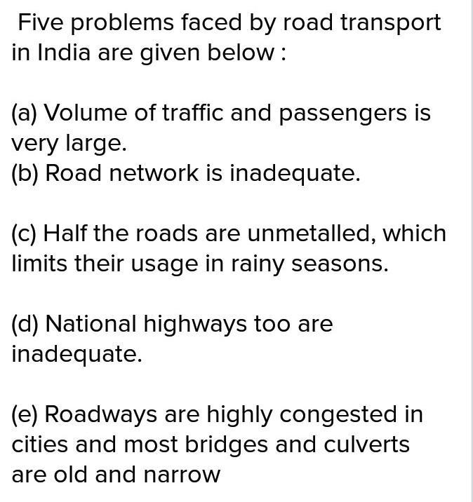 Indian road transportation is confronted with problems