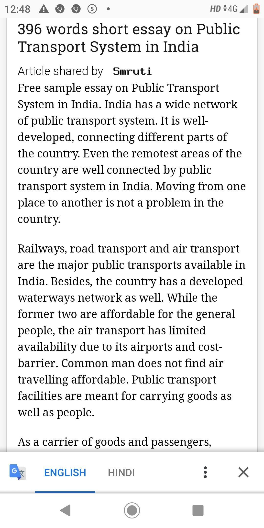 hay friends,Please answerEssay on transport system of more