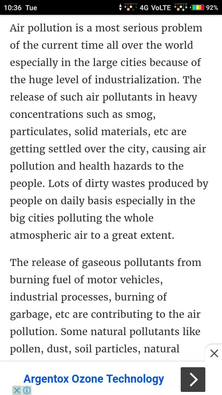 essay of air pollution effects