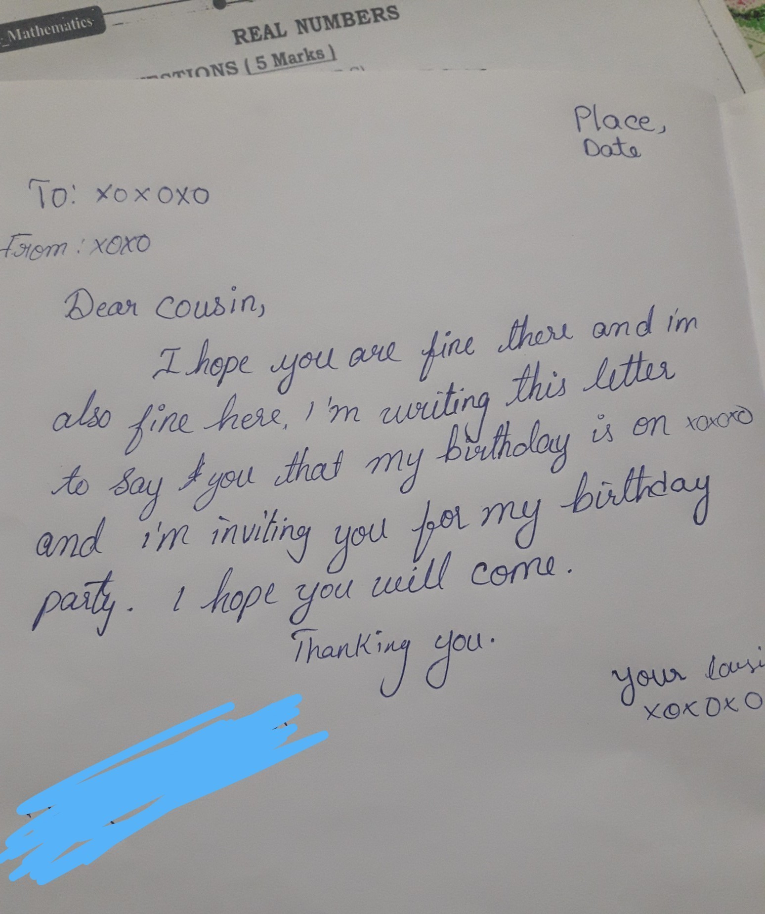 letter to cousin