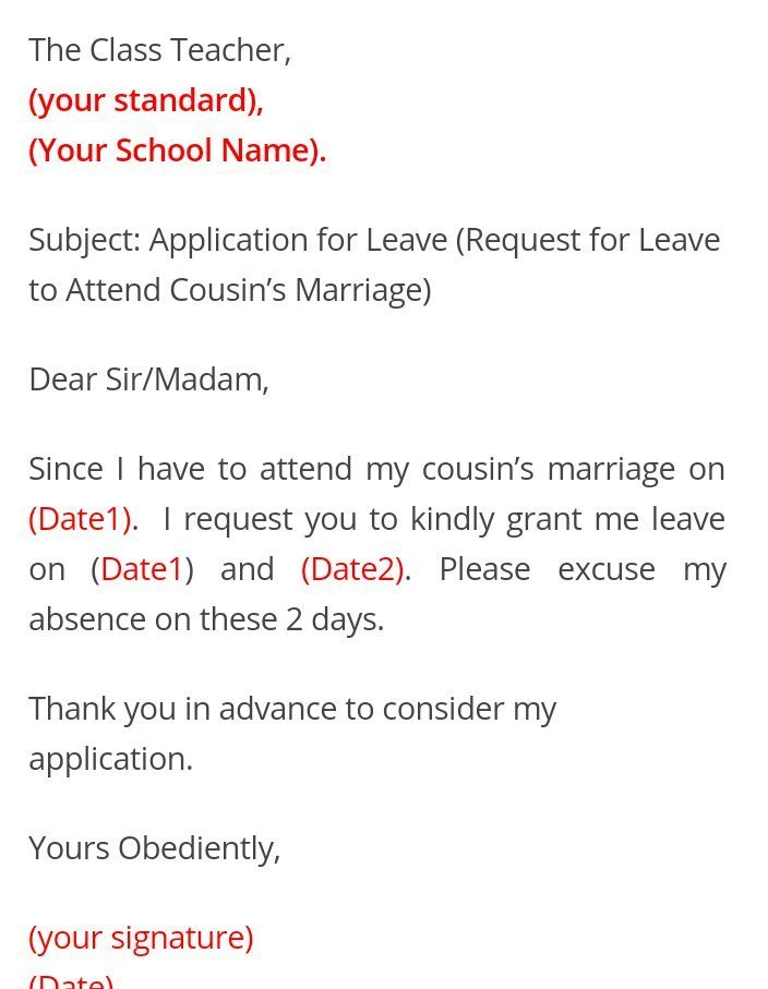 How to write a letter for leave to school teacher