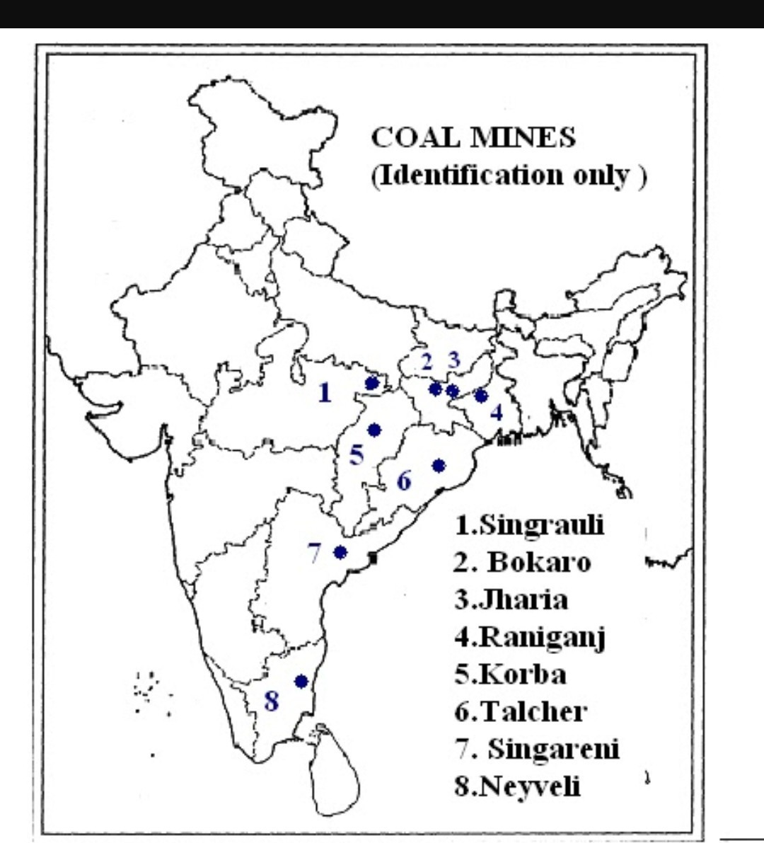 Coal mines in a clear political map of india - Brainly in