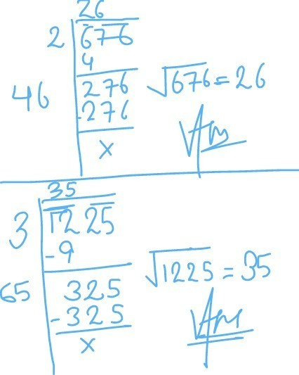 Square Root Of 676 By Division Method With Solutions Brainly In