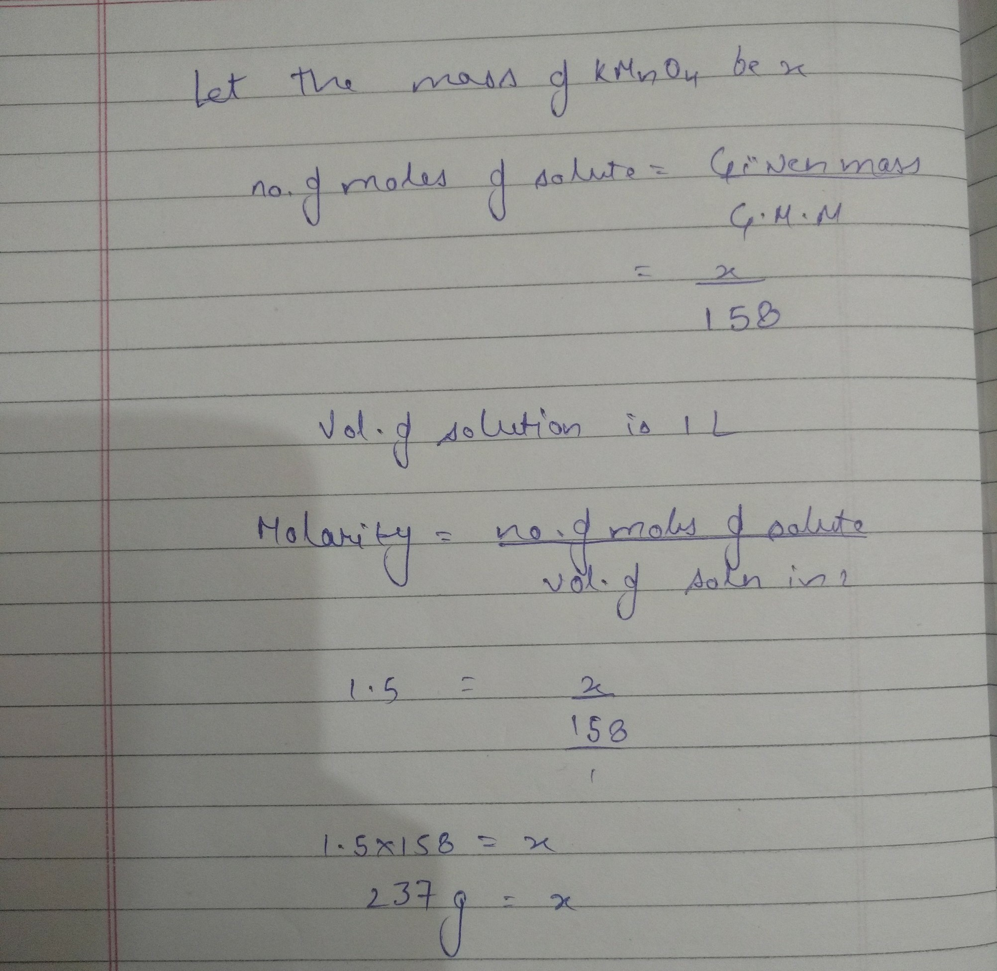 how many gram of KMnO4 are required to prepare 1 0 L of a solution