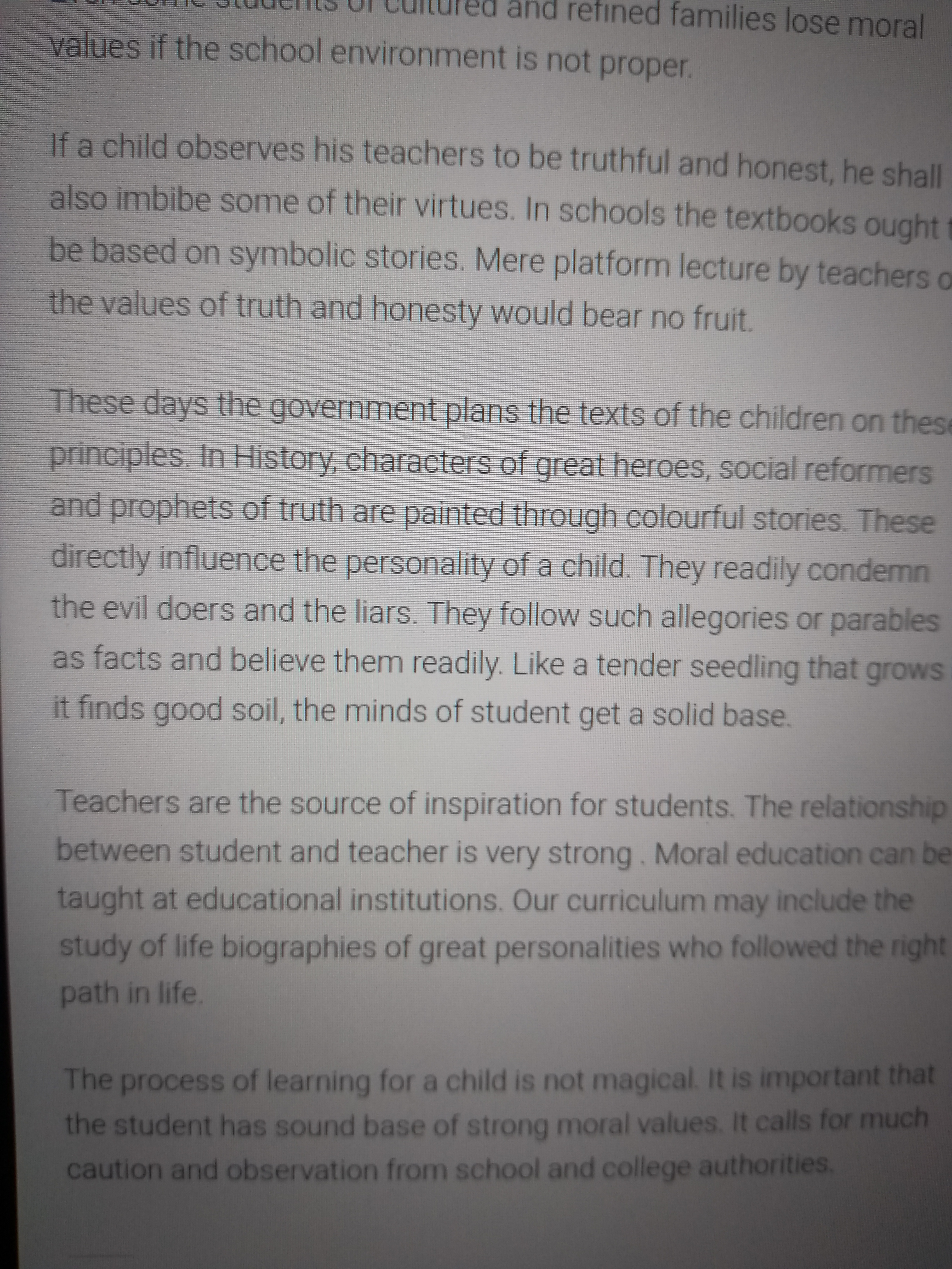 essay on importance of moral education wikipedia