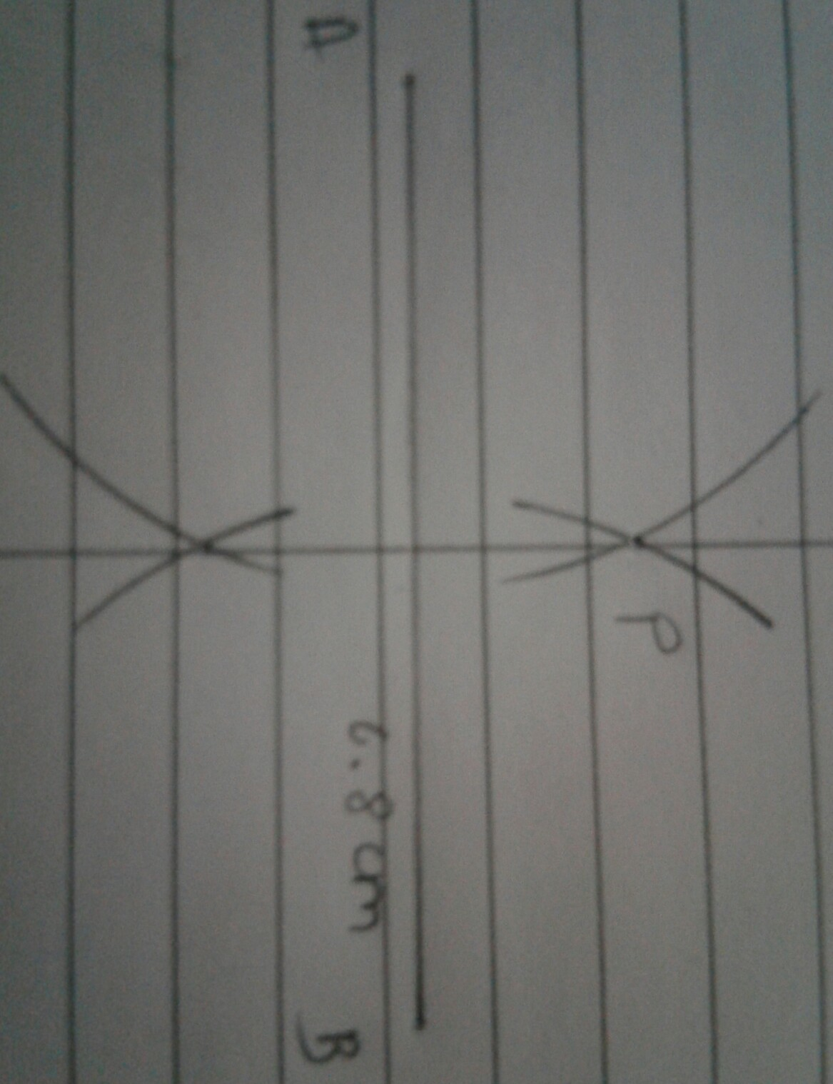Draw A Line Segment Ab 6 8 Cm Take Any Point P Outside It Using