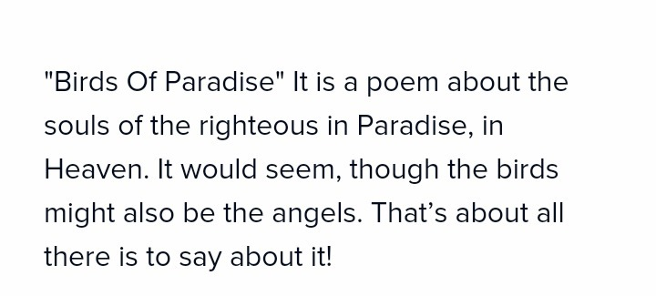 What is the summary of poem birds of paradise - Brainly in