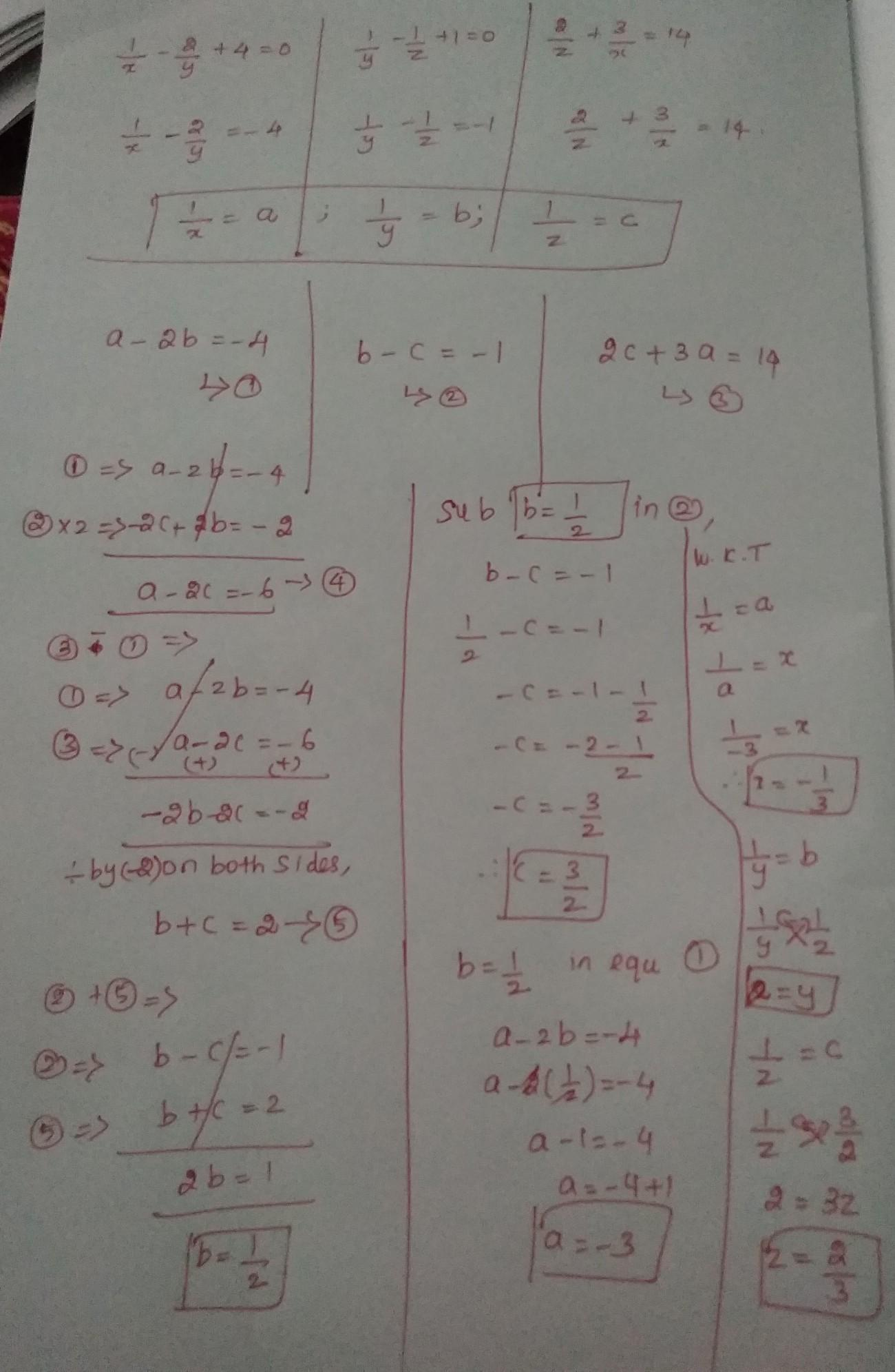 1 X 2 Y 4 0 1 Y 1 Z 1 0 2 Z 3 X 14 Solve This Linear Equation In Three Variables Brainly In