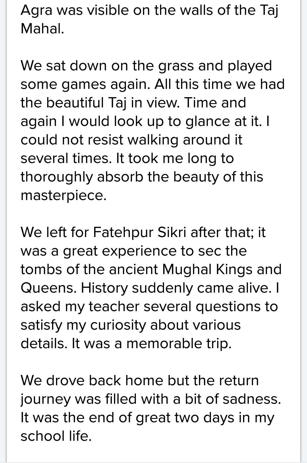a memorable journey paragraph