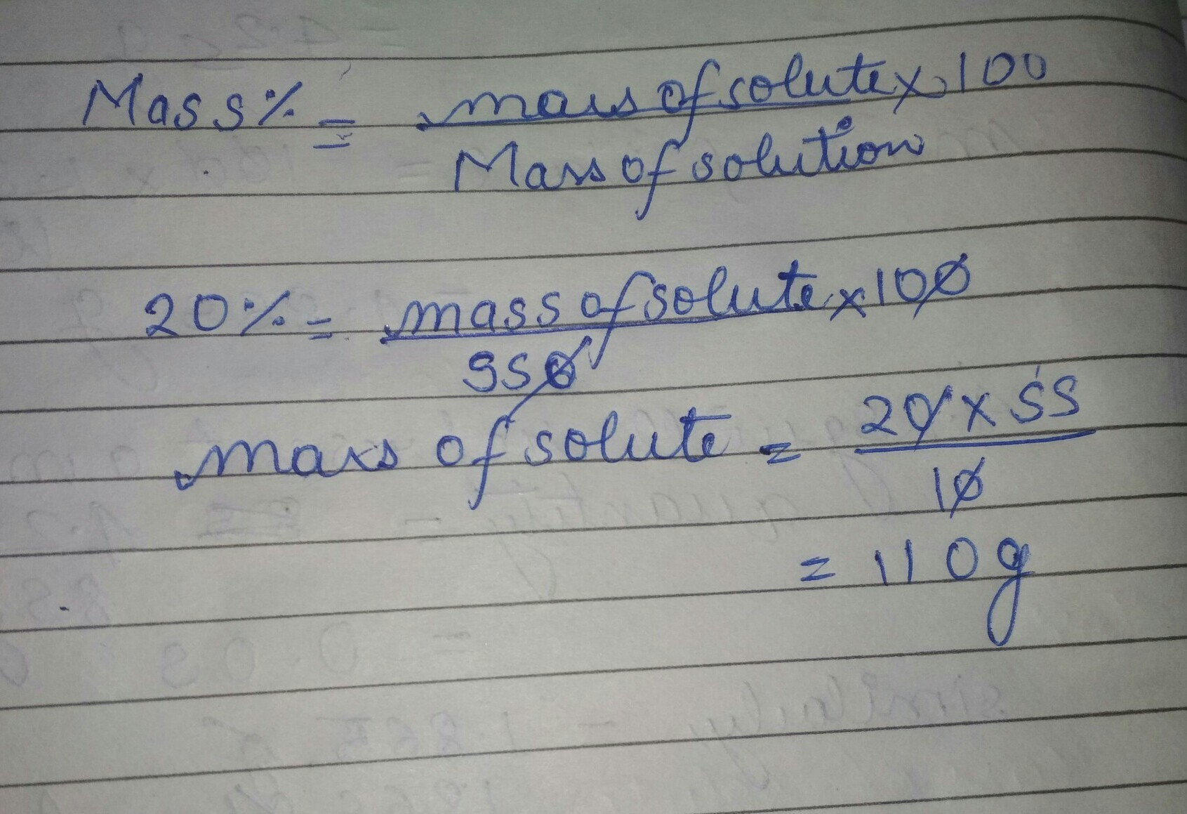 The concentration of salt solution in terms of mass by mass percentage of  20% and the mass of the - Brainly.in