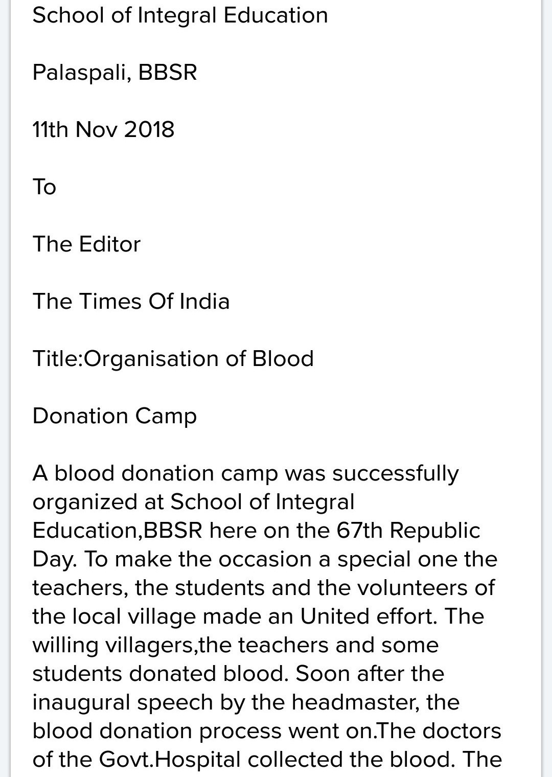 short paragraph on blood donation