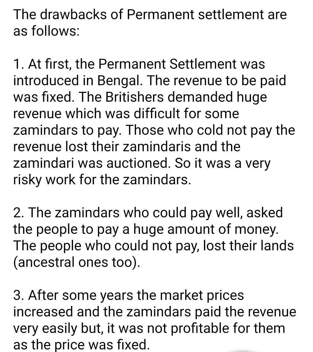 permanent land revenue settlement