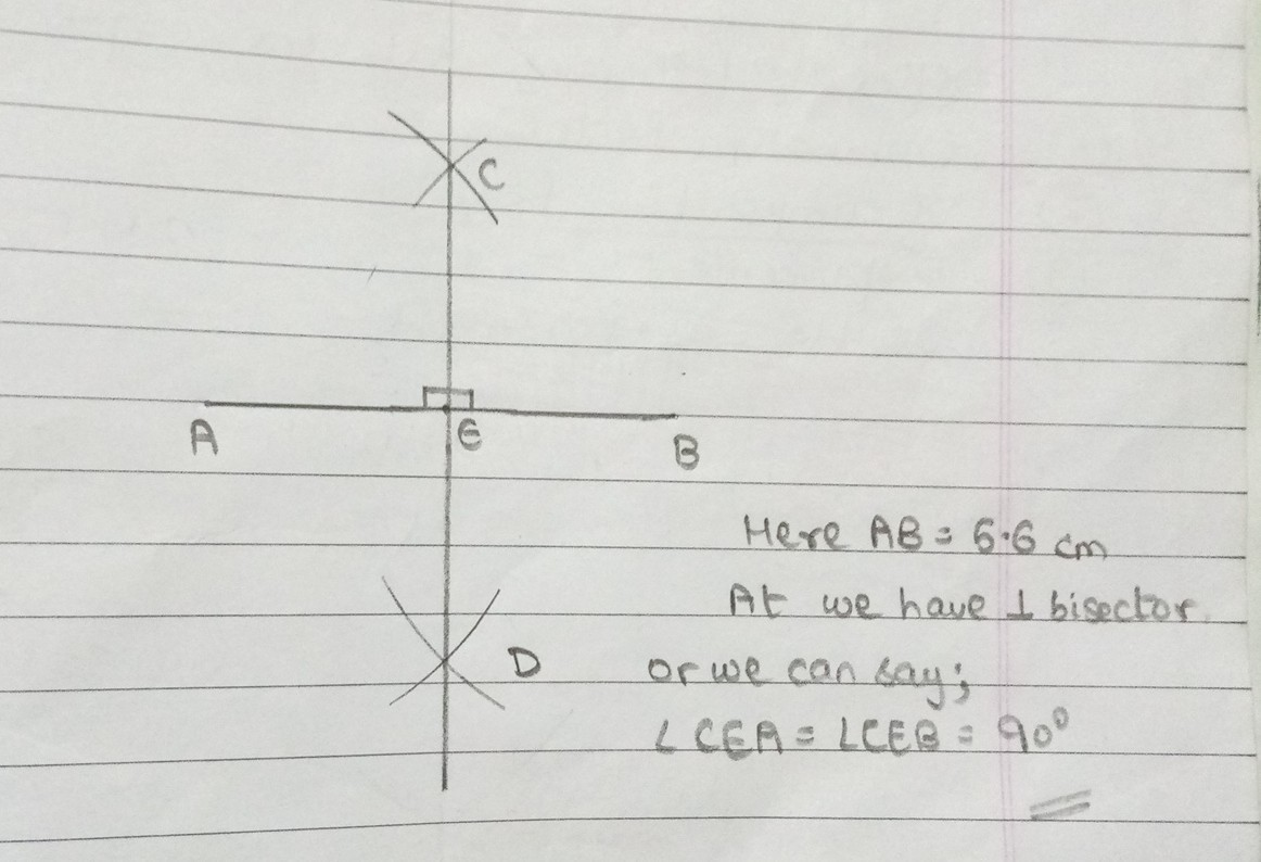 Draw A Line Segment Ab 5 6cm Draw The Perpendicular Bisector Of Ab