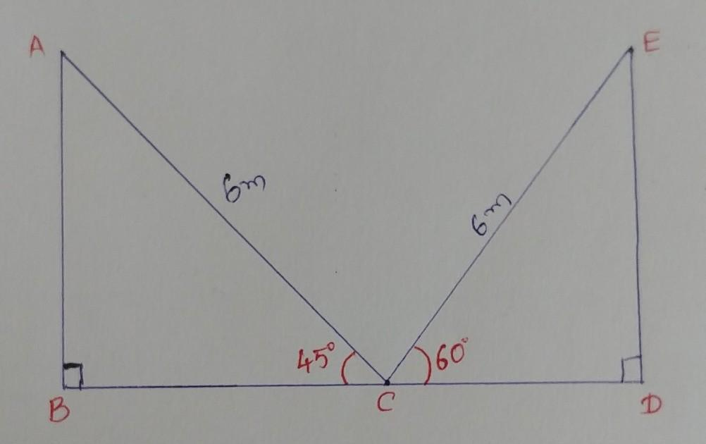 A Ladder Of Length 6 Metre Makes An Angle Of 45 Degree With The Floor While Leaning Against One Wall Brainly In