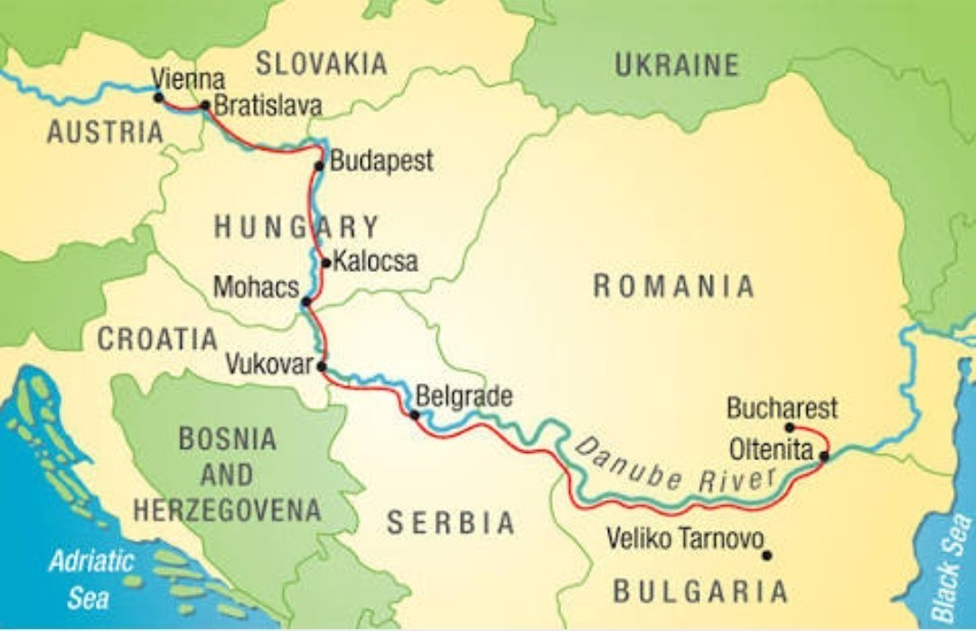 Show the location of River Danube in a World Map. - inly.in Danube River Map on
