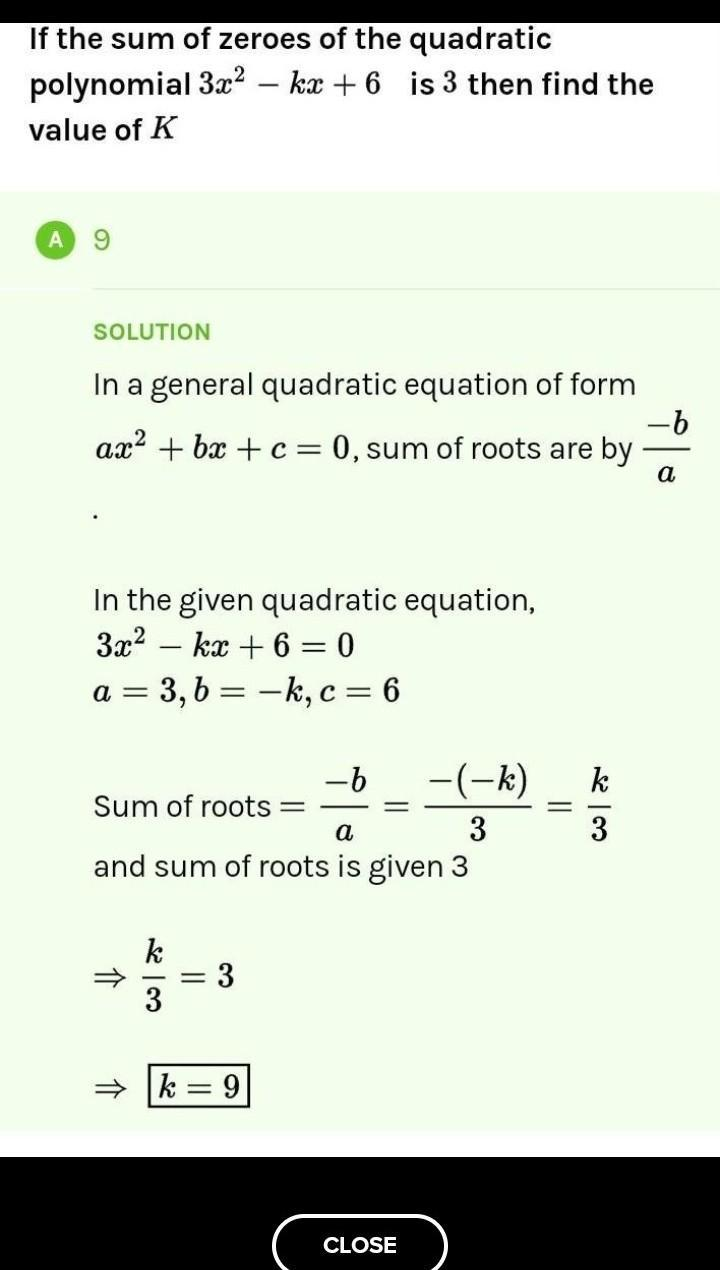 If The Sum Of Zeroes Of The Quadratic Polynomial 3x2 - Kx
