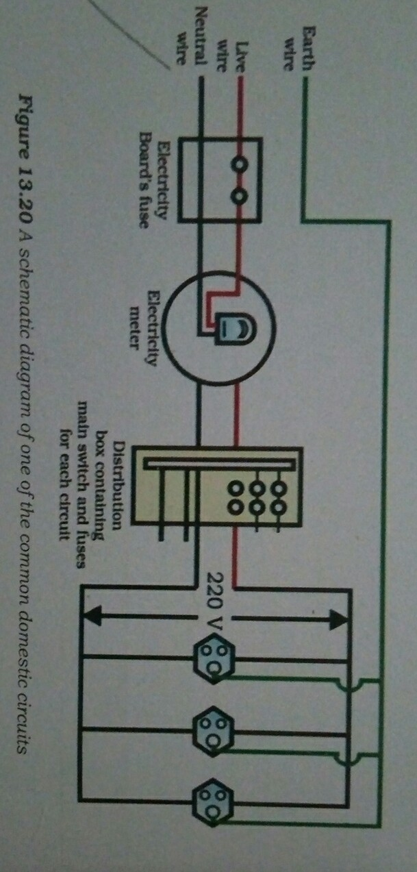 Draw a schematic diagram of a common domestic circuit showing ...