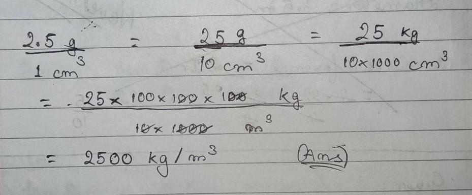 Convert 1 G Cm 3 To Kg M 3