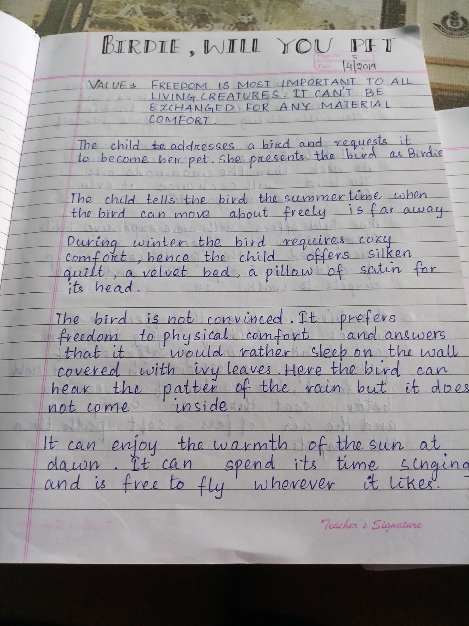 Summary of poem birdie will you pet english book of dav