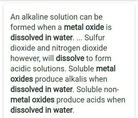 what happened when metal oxide dissolve in water ? - Brainly in
