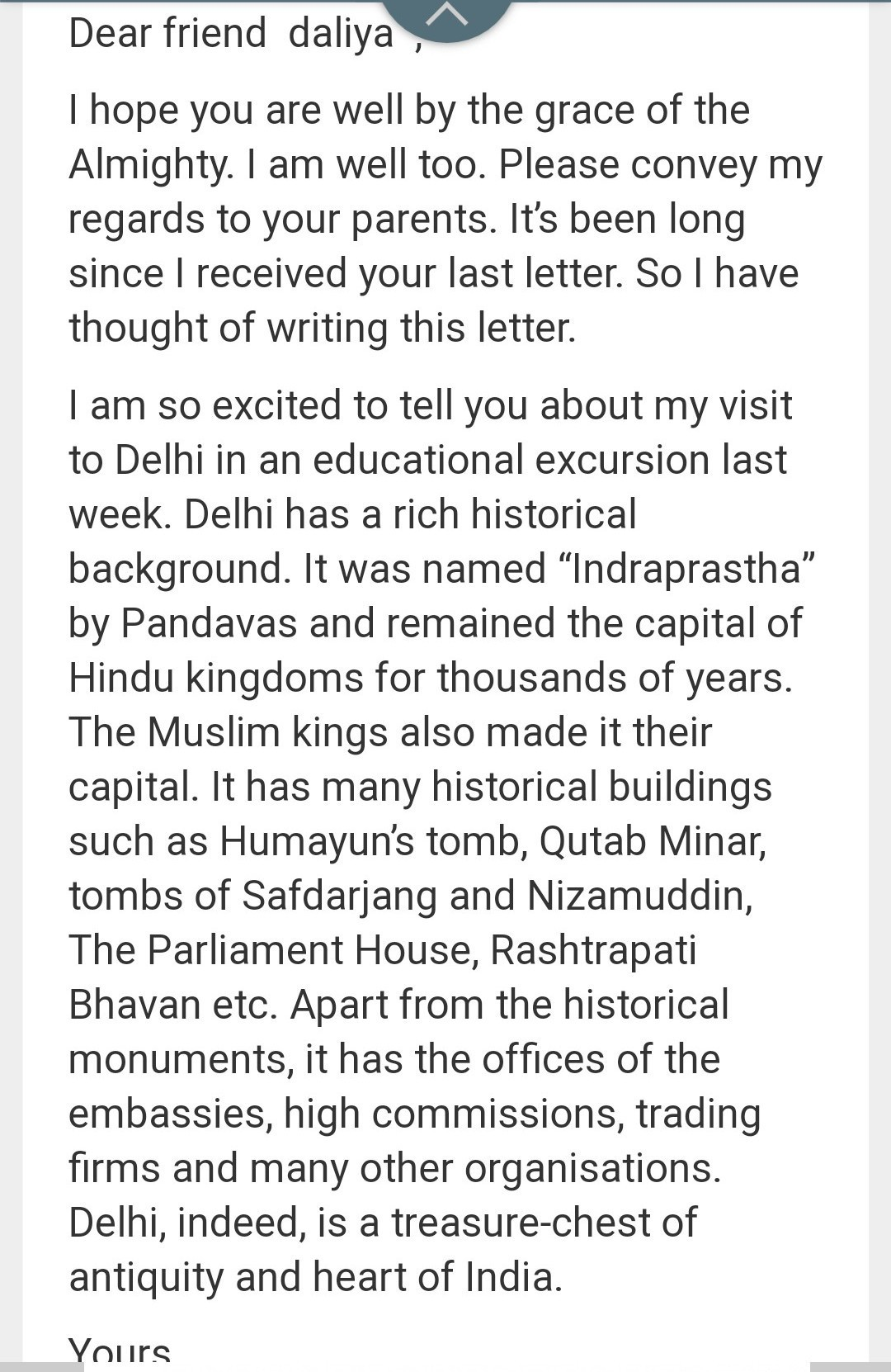 write a letter to your friend about your visit to a historical place in english