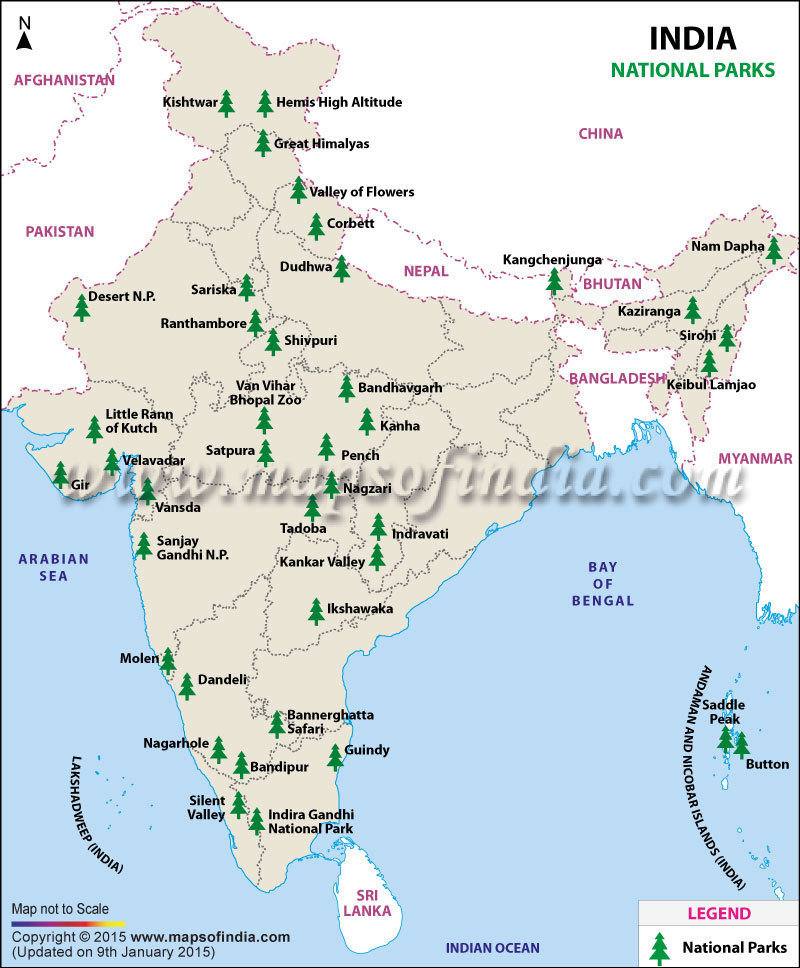map of india showing wildlife sanctuaries Political Map Of India With National Parks And Wildlife map of india showing wildlife sanctuaries