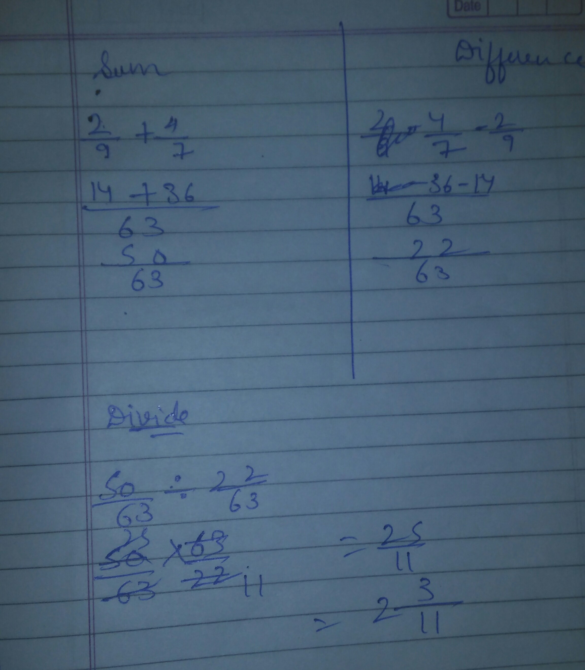 Divide the sum of 2/9 and 4/7 by their difference - Brainly.in