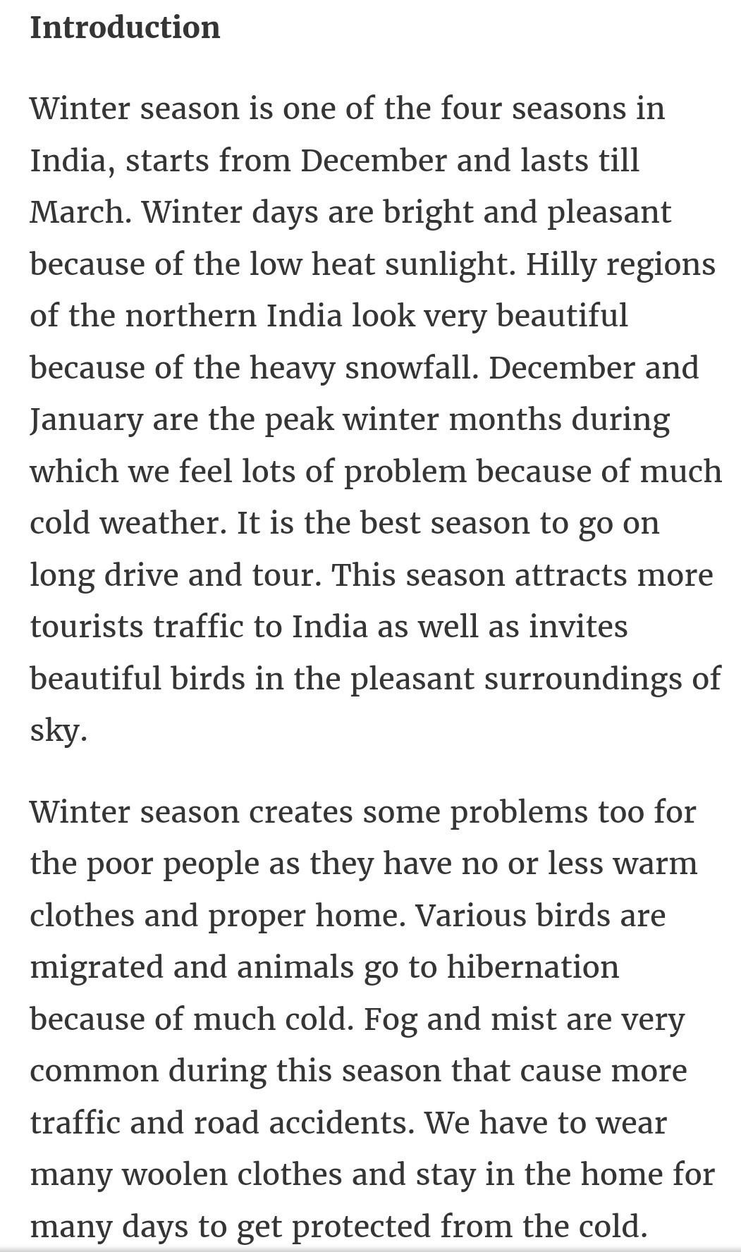 winter essay introduction