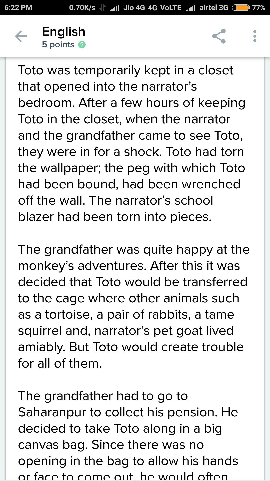 What is the plot of story the adventures of toto by ruskin bond ...