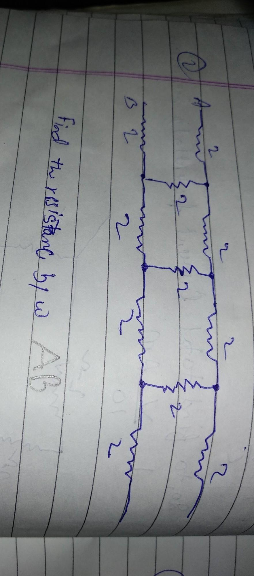 find the resistance between ab please please help me fast copy par