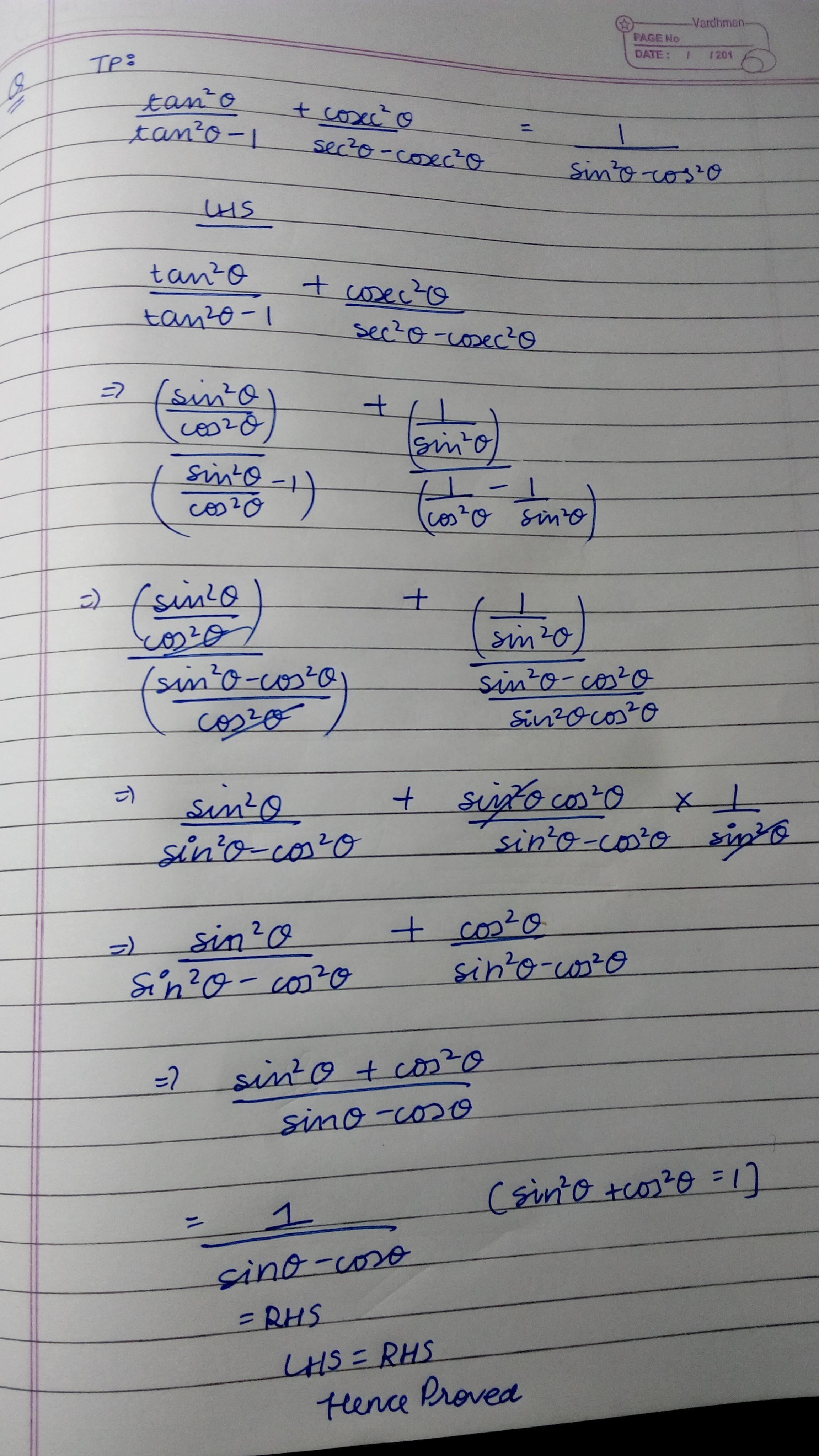Prove That Tan2 Theta Tan 2 Theta 1 Cosec 2 Theta Sec 2 Theta Cosec 2 Theta 1 Sin 2 Theta Cos2 Brainly In