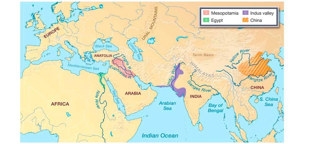 location of Roman, Harappan, Mesopotamia, Egypt and Mayan in ...