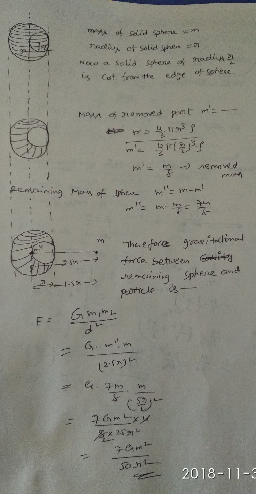 A solid sphere of radius r/2 is cut out of a solid sphere of radius