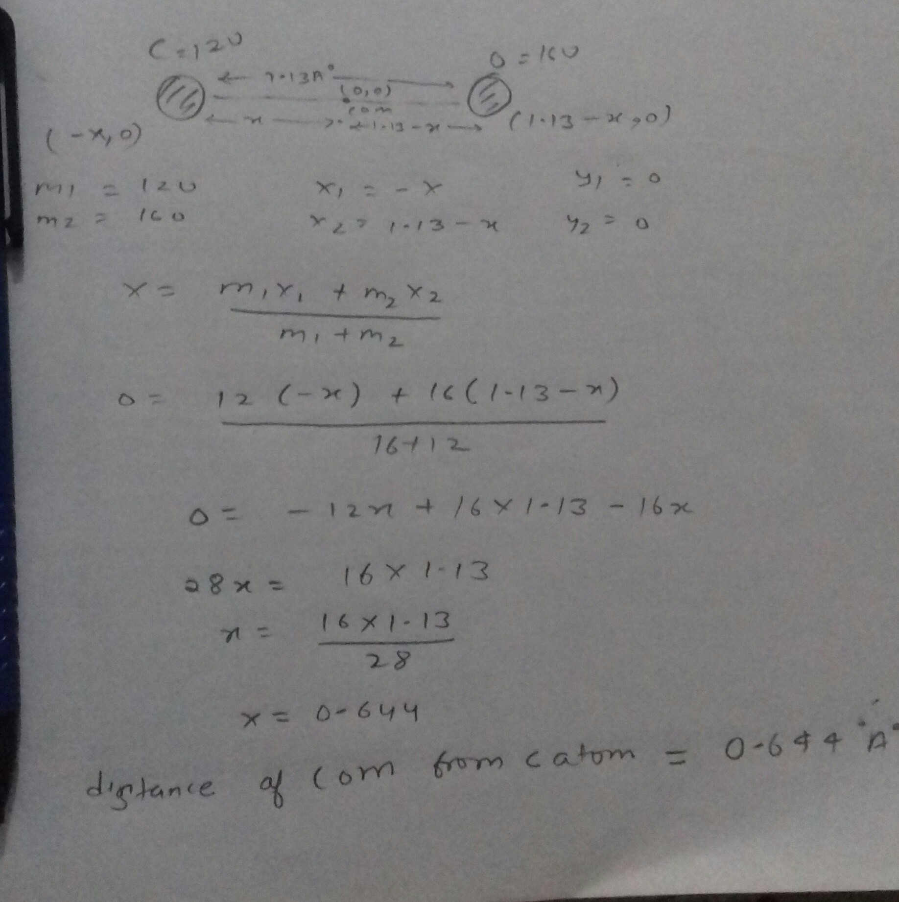 The distance between the center of mass of carbon and oxygen atoms ...